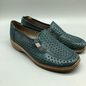 Remonte blue green perforated slip on shoes